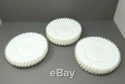 10 Fenton Dessert Plates Silver Crest Milk Glass Opalescent 8 1/2 Vintage Salad