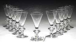 11pc Steuben Trumpet Teardrop Style White Wine Goblets