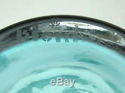 14.5 BLENKO signed hand blown glass liquor decanter with8 stopper blue/green MCM