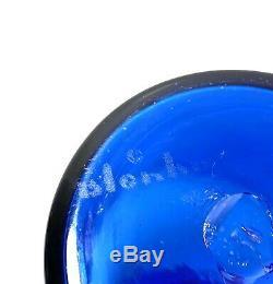 15 3/4 Blue Hand Blown BLENKO Glass Liquor Decanter with9 Stopper SIGNED