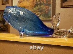 15 Large Blenko Blue Crackle Glass Fish Whale MCM Mid Century Modern W. VA. USA