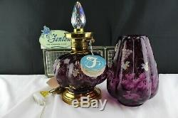 17 Vintage Fenton Glass Table Lamp Plum Diamond Optic HP Grapes D. Robinson