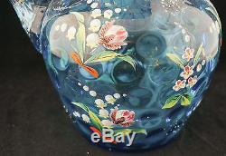 1880 Phoenix Blown Art Glass Enameled Spot-Optic Water Pitcher Tumblers
