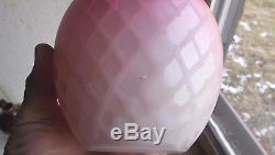1880s MOUNT WASHINGTON PINK & WHITE SATIN ART GLASS DIAMOND QUILTED BISCUIT JAR