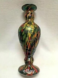1920's Fenton Mosaic Threaded Vase 13.5