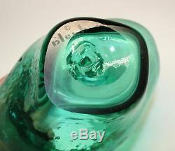 1958 BLENKO WAYNE HUSTED SEA GREEN OWL VASE 5830s