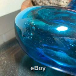 1959 BLENKO Peacock Blue Wayne Husted Designed LARGE Ovid Decanter Bottle #5933