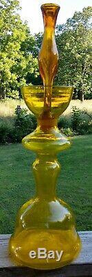 1960-61 Husted Blenko glass 22 Jonquil Chessman Decanter 5929-S Yellow
