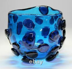 1960'S BLENKO WAYNE HUSTED #597 BLUE VASE WithAPPLIED PRUNTS