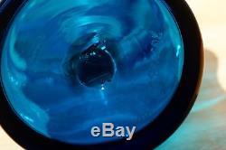 1967 Blenko Joel Myers 6732S Turquoise Glass Decanter Signed W. H. Blenko & Label