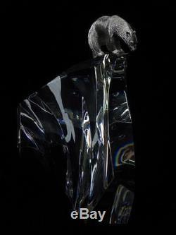 1974 Steuben Art Glass Crystal James Houston Ice Berg Polar Bear Sculpture WOW