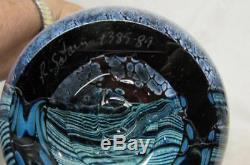 1989 R Satava Mt. Shasta Art Glass 8 1/2 Vase # 1385-89 Signed