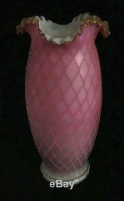 19c Mt. Washington Webb Enamel MOP Mother Of Pearl Quilted Vase HP Gilt Bird 11