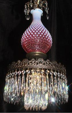 1of2 Fenton hanging SWAG Cranberry art Glass Crystal Lamp Chandelier Vintage