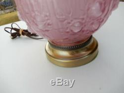 2 Fenton lamps Dusty Rose CABBAGE ROSE EMBOSSED GLASS GWTW