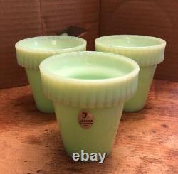 3 FENTON Jadite Jadeite Martha Stewart by Mail MBM 3 1/2 small Flower Pots