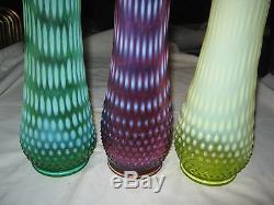 3 Huge Fenton Art Glass Hobnail Opalescent Hand Swung Flower Vase Plum Vaseline
