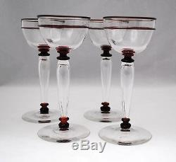 4 Carder Period Steuben Wine Glass Goblets with Selenium Red Decoration