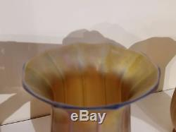 4 Quezal Signed Vintage Gold Aurene Tulip Ribbed Art Glass Shades NO RESERVE