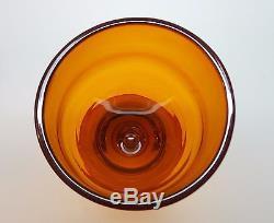 4 RARE 1959 BLENKO 11.25 TANGERINE Chalice GOBLETS #5923 Wayne Husted SIGNED