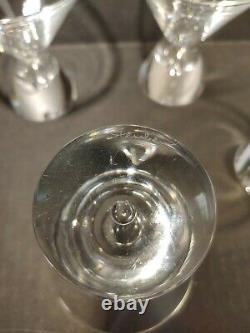 4 Vintage Steuben Crystal Martini Glasses Tear Drop Design Barware Mid Century