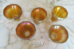 5 STEUBEN GOLD AURENE ART GLASS SHADES c. 1910s
