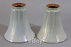 6 Antique STEUBEN Art Glass White Calcite Iridescent Aurene Light Fixture SHADES