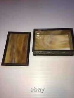 #808 Tiffany Studios Ny Trinket Box Grapevine Brown Slag Glass