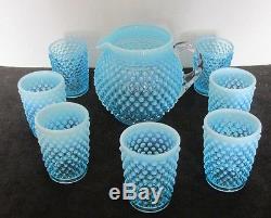 8 Pcs Fenton Blue Hobnail Opalescent Juice Pitcher + 7 Juice Glasses Tumblers