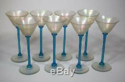 8 Steuben Verre de Soie With Celeste Stems Cordial Glasses