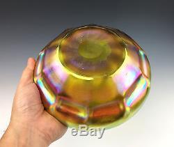 8 TIFFANY STUDIOS Large Ruffled Gold Iridescent Favrile Glass Bowl #4815 c1910