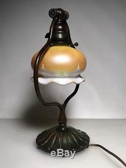ANTIQUE Bronze Harp TIFFANY STUDIOS Lamp QUEZAL Feather GLASS SHADE Arts Crafts