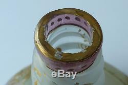 Antique Mt. Washington Royal Flemish Art Glass Vase Enameled Roses Marked Rf