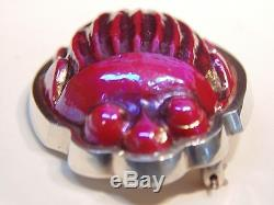 Antique Signed Tiffany Favrile Red Art Glass Scarab Sterling Silver Brooch / Pin