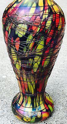 Antique Vintage Fenton Mosaic Vase Catalog #3008 Offhand Iridescent Art Glass