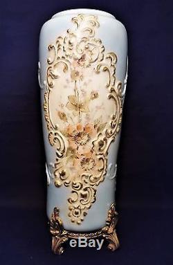 Antique Wave Crest Mt. Washington Cf Monroe Tall Vase Ormolu Base & Paint Decor