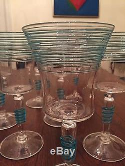 A Rare Set of 11 Celeste Blue Steuben Glasses c. 1920s/1930s