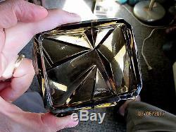 A Very Rare Consolidated Ruba Rombic Smokey Topaz Cigarette Box & Lid-nr
