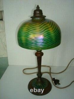 All Original Signed Tiffany Studios Base And Favrile Decorated Art Glass Shade