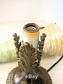 Amazing Durand Art Glass Threading Pulled Feather Trumpet Touchier Lamp