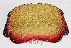 Amberina Daisy and Button Glass Square Candy Dish Hobbs