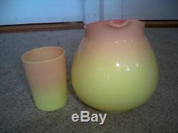 Antique 19th C Mt. Washington Art Glass Burmese Peachblow Pitcher & Tumbler