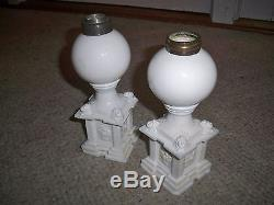 Antique 19th C New England Glass Co Opalescent White Whale Oil Lamps Lions Rare