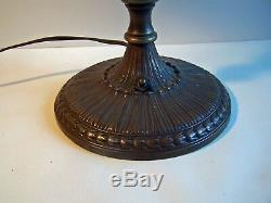 Antique Bronze Table Lamp with 2 Steuben Gold Aurene Shades