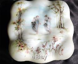Antique CF Monroe Wave Crest Egg Crate Dresser Jar with 2 Women Dancing in Forest