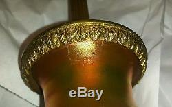 Antique Carder Steuben Vase Lamp 6094 Ophelia Gold Aurene Alabaster Acid Cut