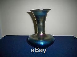 Antique Durand Art Glass Signed 1990-8 Blue Aurene Iridescent Vase 8