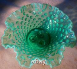 Antique Fenton Hobnail Emerald Green Plant Art Glass Flower Horn Vase Epergne