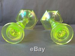 Antique Fenton Iridescent Topaz Vaseline Glass 8 1/2 Tall Candlesticks #449