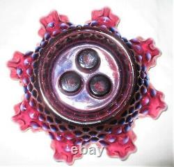 Antique Fenton Purple Plum Hobnail Opalescent Glass Label Epergne Vase USA Bowl